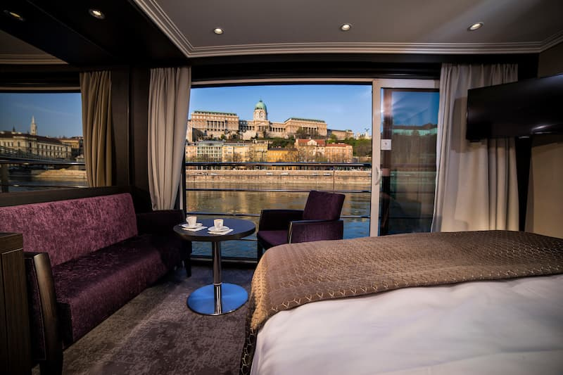 Avalon Waterways panorama suite with view of the river