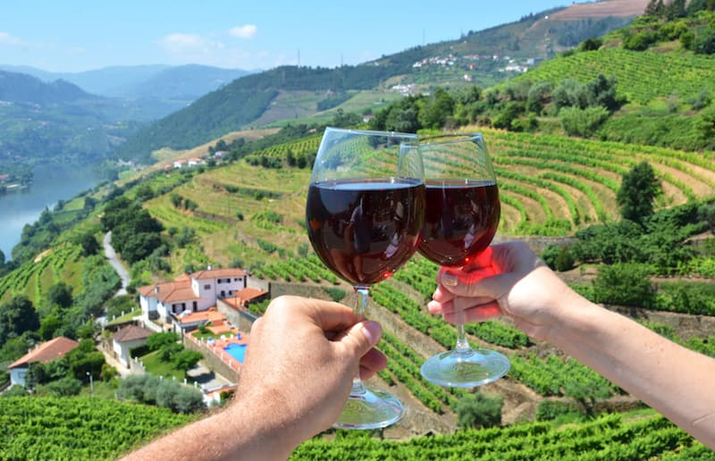 Two wine glasses toasting with vineyards and the Douro River in the distance