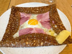 Cooked Country Ham Galette on a dinner plate