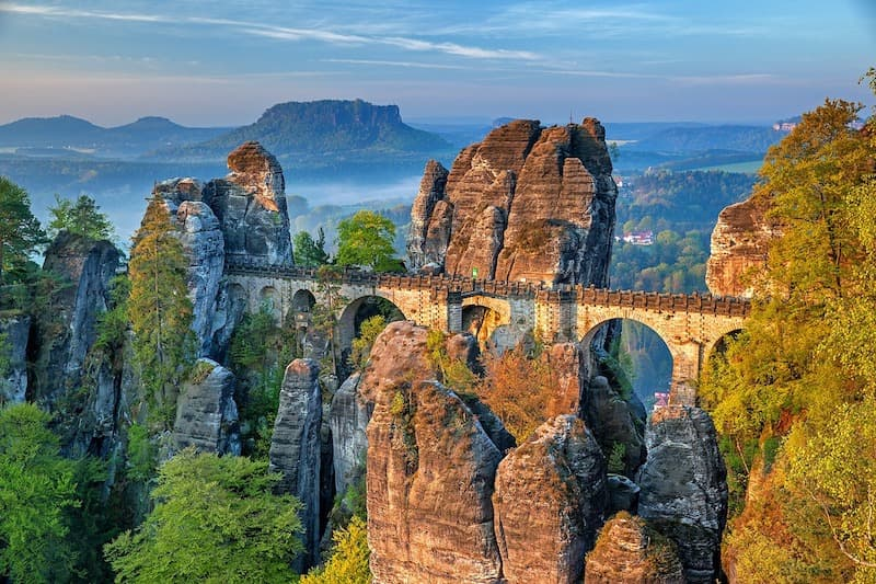 The Bastei Bridge along the Elbe Cycle Route in Germany.