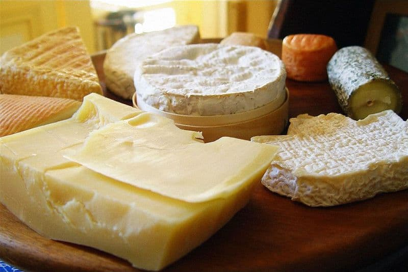 A plate of assorted french cheeses