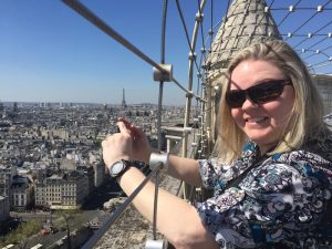 Clarice at the top of the Notre Dame Cathedral in Paris