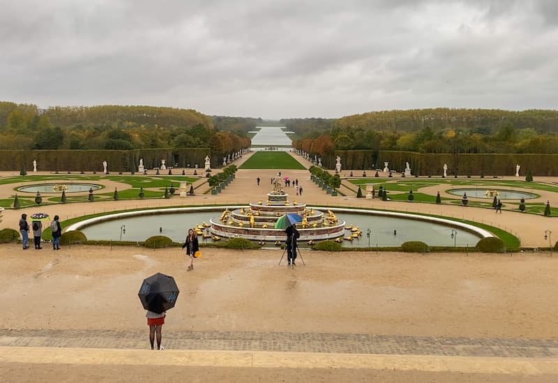 View down the Grand Canal of Versailles as seen from behind the palace