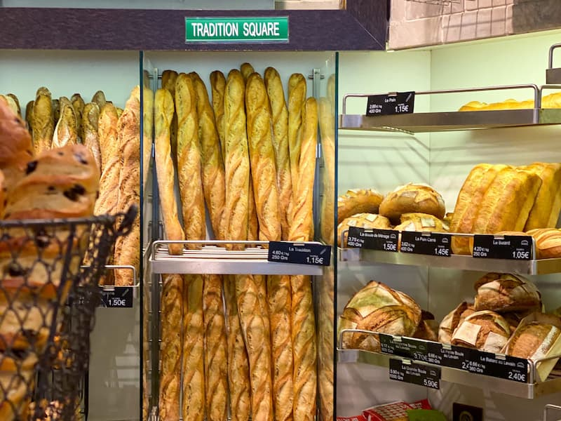 Traditional French baguettes at a boulangerie