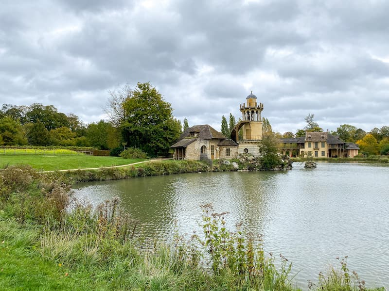 The lake and cottages at The Queen's Hamlet on the grounds of Versailles