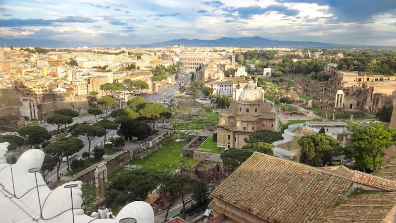 View of the Roman Forum and Roman Colosseum from the Vittorio Emanuele monument