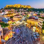Monastiraki Square and Ancient Acropolis in Athens, Greece